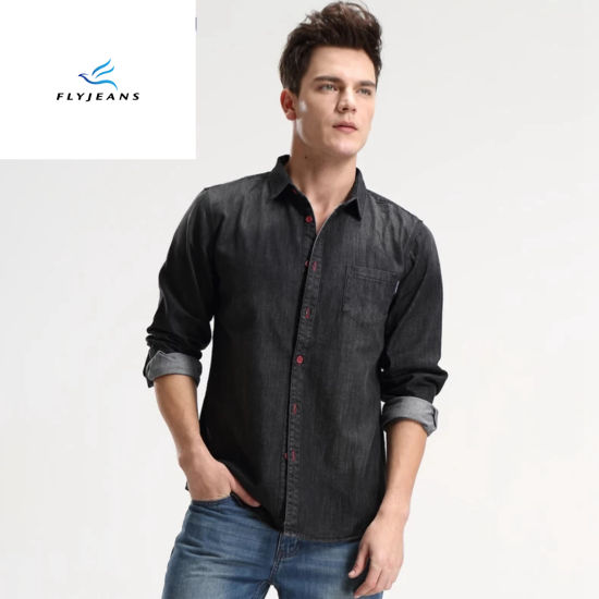 c9f71b2d1067 China New Style Leisure Black Long Sleeves Men Denim Shirts by Fly ...