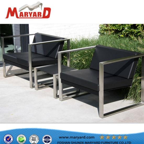Aluminumstainless Steel Outdoor Sofa Set With Ottoman And Cushion