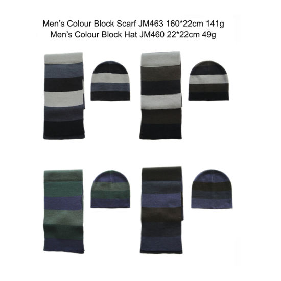 Men Winter Fashion Warm Colour Block Stirpe Hat Scarf Set