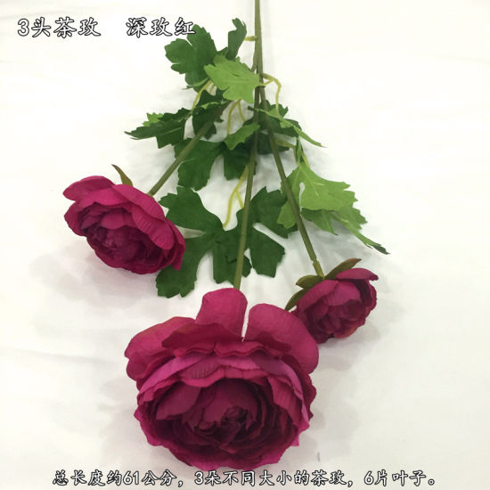 Real Touch Artificial Rose Silk Flower 3 Branch with Leaf for Home Decoration