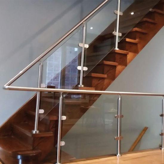 Customized Round Pillar Balcony Railing Design Glass For Home