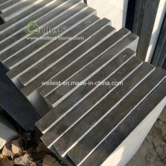 Top Flamed Blue Limestone Stair Treads With Polished Edge