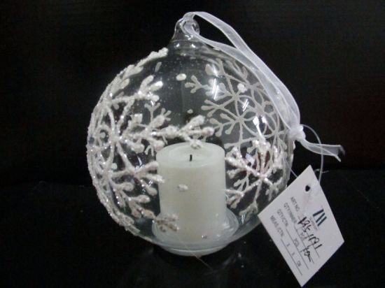 Christmas Glass Ball with LED Candle Inside