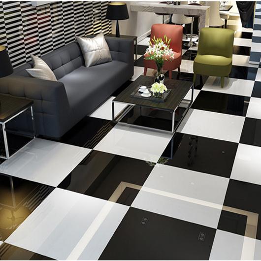 60X60 Cm Building Materials Super White Jet Black Vitrified Polished Porcelain Tile