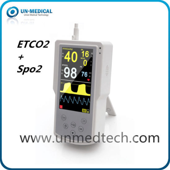 5 Inch Display Portable Etco2 (End-tidal CO2) Monitor with SpO2
