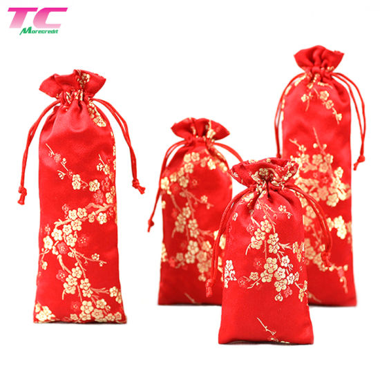 c163f83b9b68c Chinese Style Satin Red Embroidery Drawstring Promotional Jewelry Gift Bag  pictures & photos