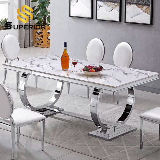 China Modern Home Restaurant Furniture, Marble Dining Room Table