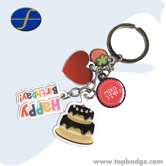 Cute Gift Set Cmyk Printing Logo Metal Keychains