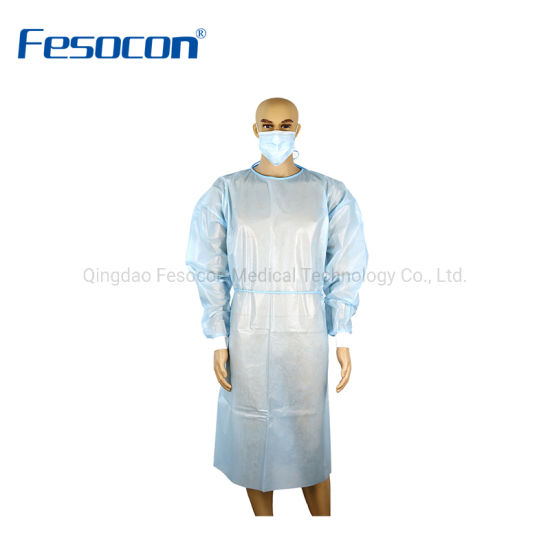 Manufacturer PP PE/SMS/PP Disposable Isolation Gown Anti Virus Medical Surgical Gown