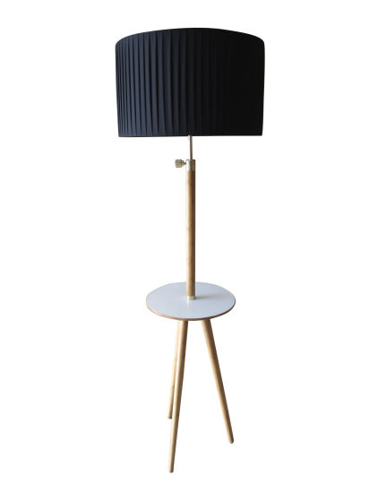 Bamboo Natural Floor Lamp with Black Tc Shade pictures & photos
