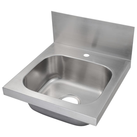 Wall Mounted Stainless Steel Commercial Hand Sink With Backsplash C46x46x36