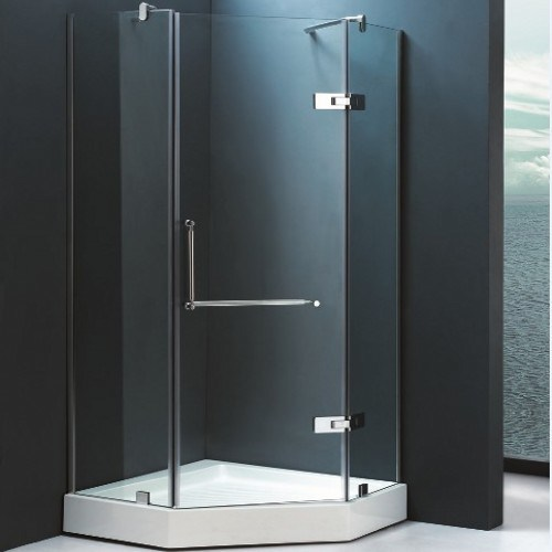 Hot Sale Tempered Glass White Acrylic Tray Corner Shower Cabin (SR9B010)