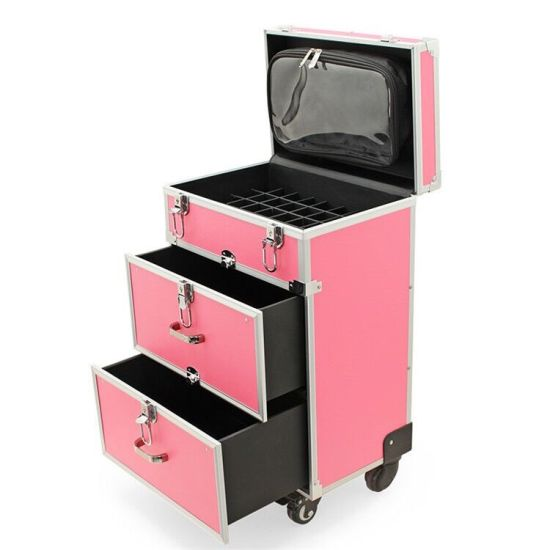 Aluminum Cosmetic Trolley Case with Double Drawers and Wheels (KeLi-LG-1025)