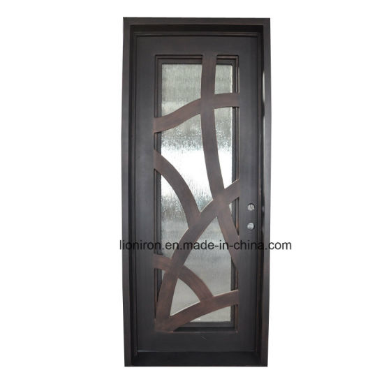 China Home Used Wrought Iron Double Glazing Front Entry Door Designs