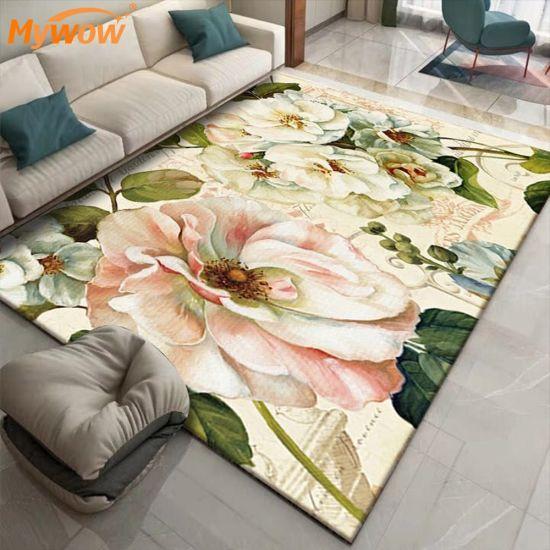 Floor Carpet Anti-Slip Embroidered Flower Shape Rug Leaf Rug for Living Room