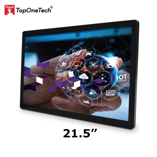 Vesa Mount 21.5 Inch Open Frame Projected Capacitive Touchscreen Touch Screen Sensor LED Monitor with Tempered Glass 1920*1080 16: 9 IPS TFT LCD Kiosk Display