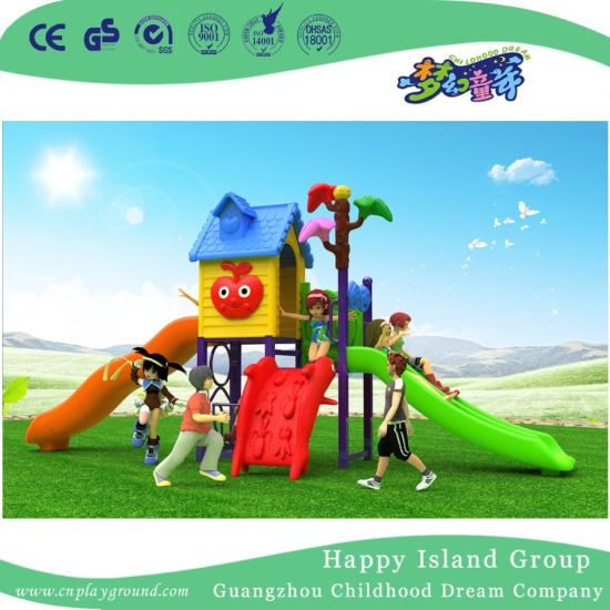 2018 New Outdoor Leaves and Mushroom Roof Children Playground Equipment with Cylindrical Slide (H17-B4) pictures & photos