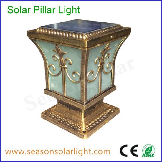 Classical Style Portable Outdoor Lighting Fixture 5W Solar Post Cap Light for Garden Gate Lighting