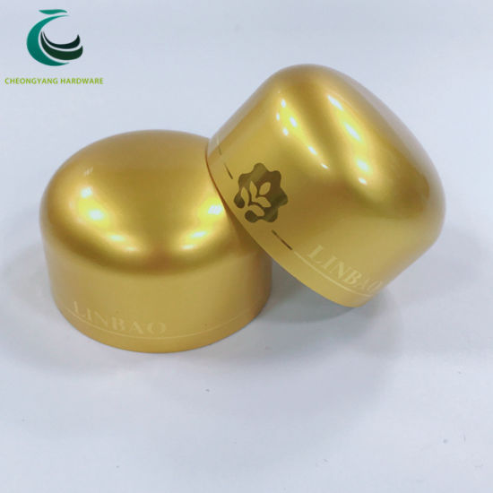 Wholesale Custom Logo Dome Golden Aluminum Caps for Health Care Bottle