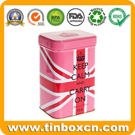 English Afternoon Tea Tin for Square Metal Tea Canister Packaging pictures & photos