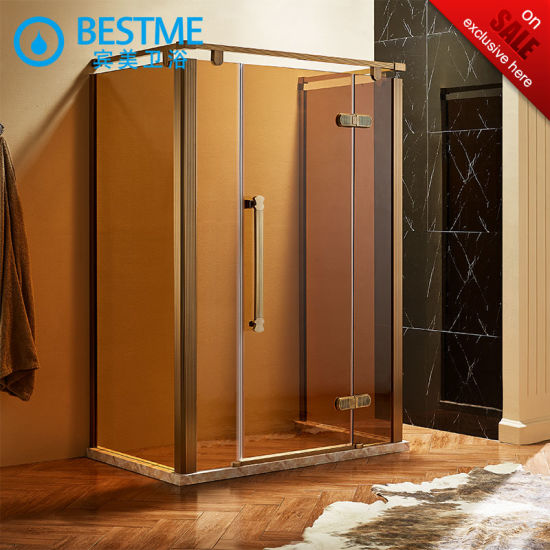China U Shape with Golden Stainless Steel Frame Shower Enclosure (BL ...