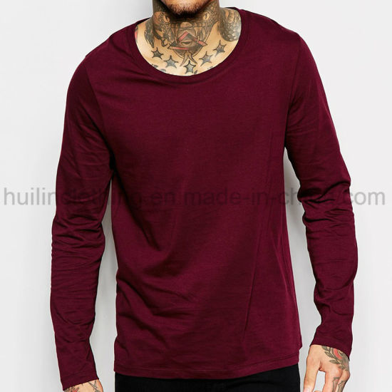 Wholesale Casual Long Sleeves Mens Cotton Tshirt