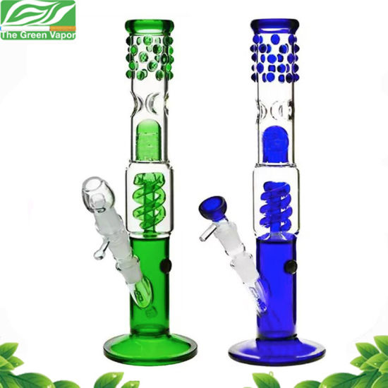 13inch Blue Green Spiral Perc Smoking Pipe Glass Hookah for Tobacco