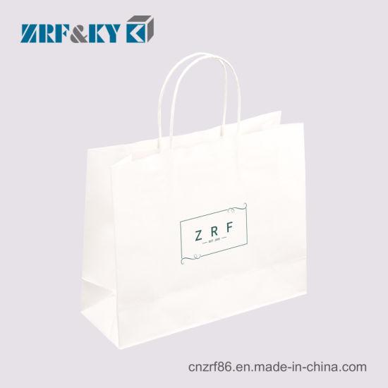 Custom White Printed Kraft Paper Ping Gift Bags Bulk With Handles Whole