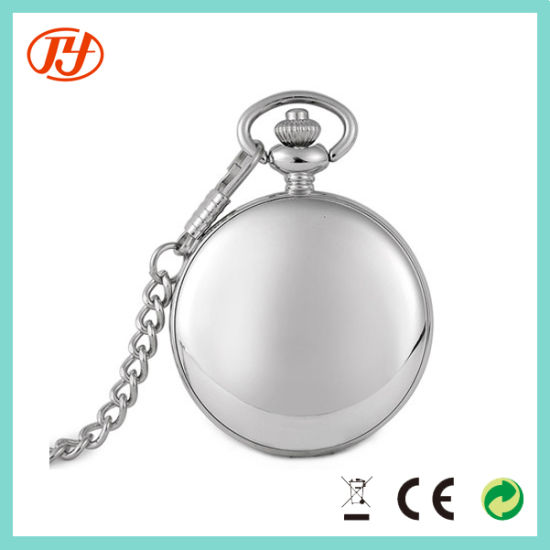 Custom Dial Wholesale IP Plating Golden Pocket Watch with Chain