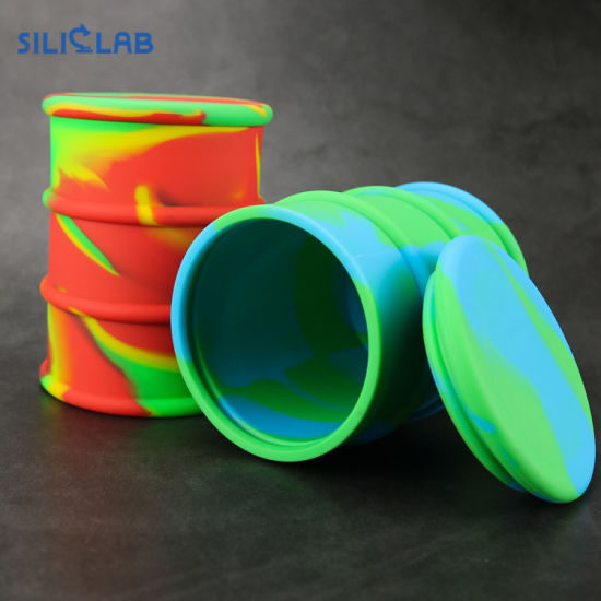500ml Silicone Jars DAB Wax Container Rubber Oil Drum Silicone Bho Oil  Barrel Concentrates Weed Jar