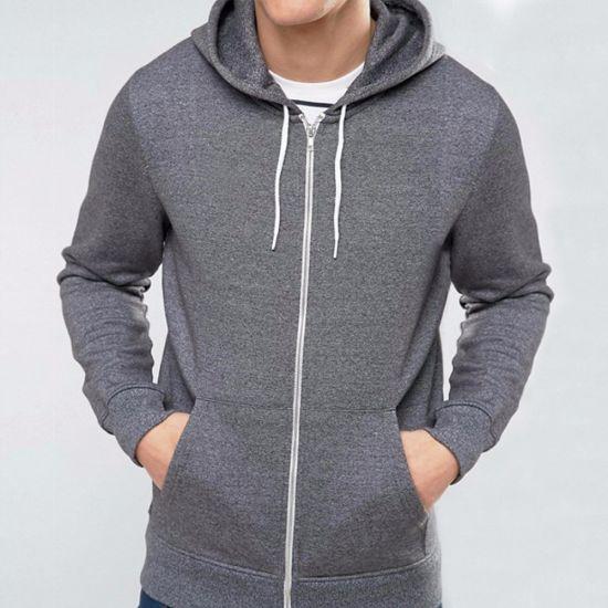 2c9815aff OEM Top Quality Drawstring Hood Men Zip up Plain Hoodie