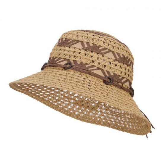 Manufacturer Straw Fine Toyo Paper Braid Coconut Beaded Bucket Hat