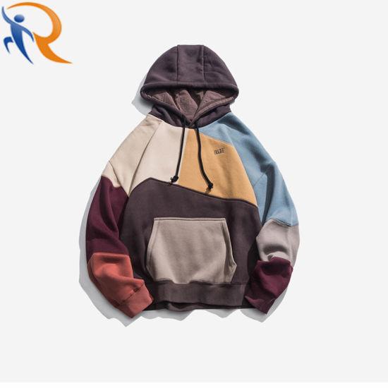 Men OEM Street Wear Hoodies Patchwork Color Blocking Embroidery Hoodies