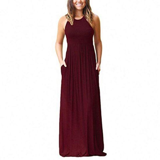 Latest Dresses Women O Neck Long Party Ladies Dress