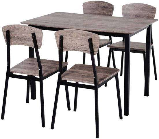 China 5 Pieces Compact Dining Table Set 4 Chairs Wood Kitchen Dining Room Furniture China Extendable Dining Table Set Dining Table