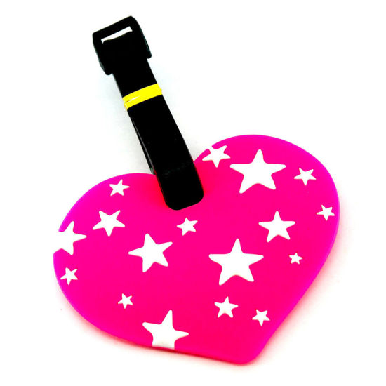 Personalized Number Plastic Straps Custom Travel Heart Shape Luggage PVC Rubber Bag Tag pictures & photos