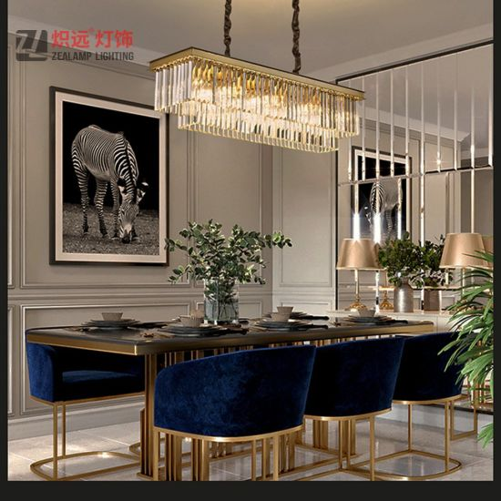 China Dining Table Lighting Metal, Rectangular Chandelier Dining Room
