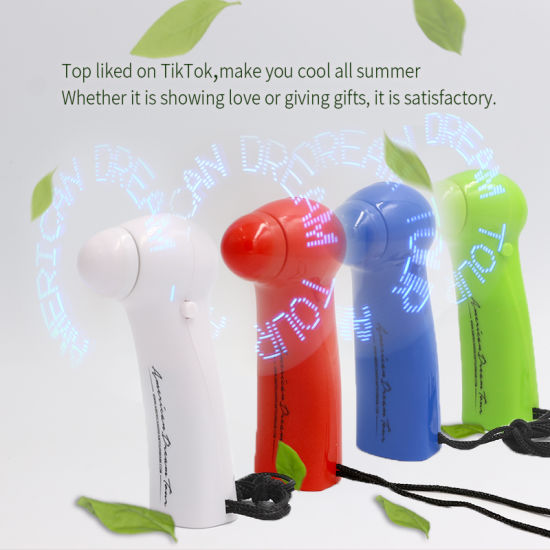 ABS Material Cool Message Fashionable Light up LED Flashing Fan Wholesale with Option Color for Promotion