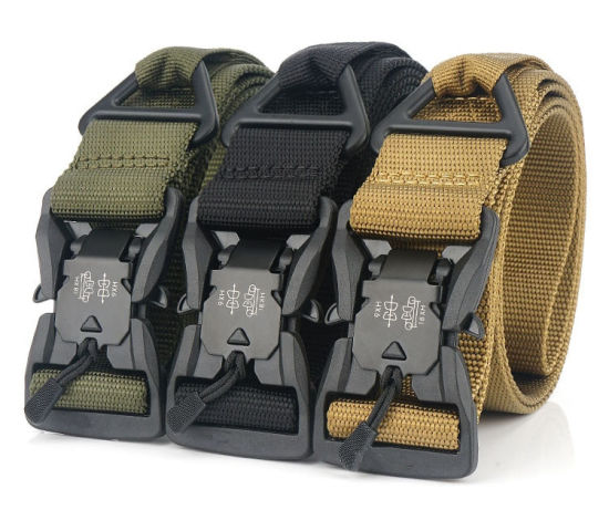 Magnet Buckle Belt Military Training Belt Outdoor Tactical Belt Canvas Nylon Men