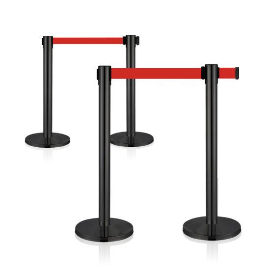 Black Airport Museum Potelet Crowd Control Queue Retractable Stanchion Barrier