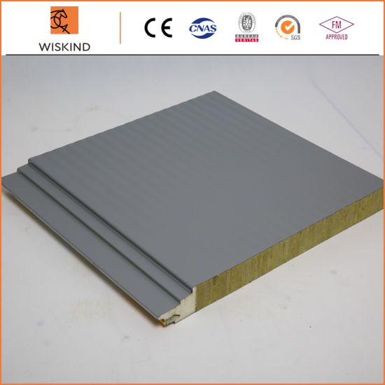 Economic Insulation PU Foam Edge Sealing Rock Wool Sandwich Panel for Internal and External Wall and Roof