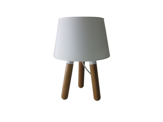 Natural Color Tripod Small Table Lamp with White Tc Shade