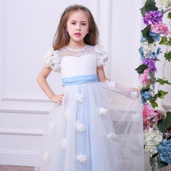 Girls Dresses Lace Openwork Dress Princess Dress Bow