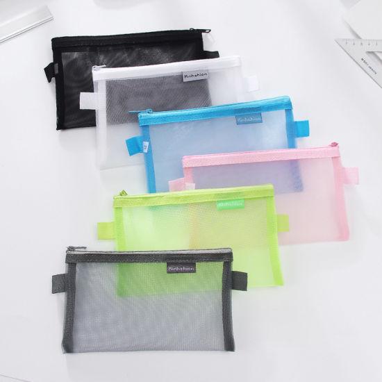 Back to School Children Transparent Nylon Mesh Bag, Zipper Bag, Promotional Bag, Zipper Pouch, Pencil Bag