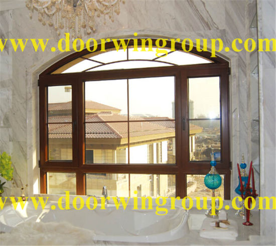 Oak/Cherry Wood Aluminum Casement Window for Villa