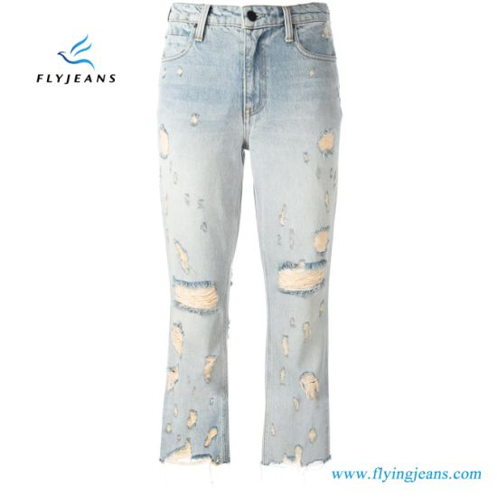 af6e4e9bd19c2 China Blue Cotton Ripped Distressed Cropped Jeans Women Denim ...
