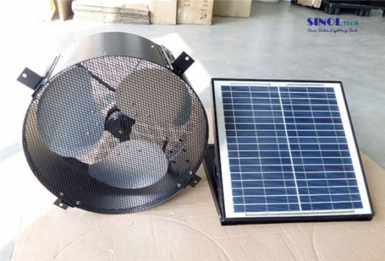 China 30w 14inch Axial Solar Attic Fan For Wall With