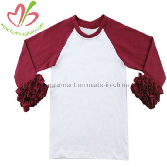 100% Cotton Pullover Kids Raglan Shirt with Ruffles Autumn