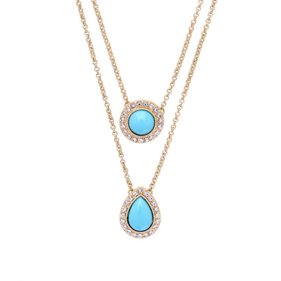 Simple and Elegant Retro Two-Layered Detachable Ahort Clavicle Necklace Geometric Water Drop Design Pendant Jewelry pictures & photos