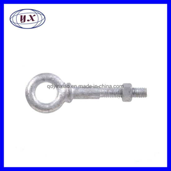 OEM Forged Steel Hot-Dipped Galvanized Eye Bolt with Hex Nut in Shoulder Pattern